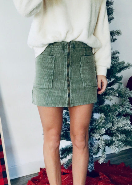 Know It All Corduroy Mini Skirt