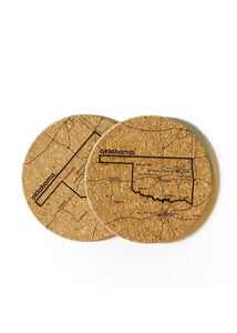 Oklahoma Cork Coasters - Set of 2