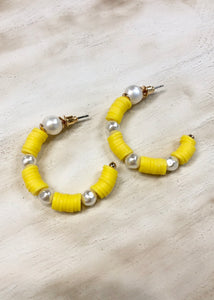 Disc and Pearl Hoop - Yellow