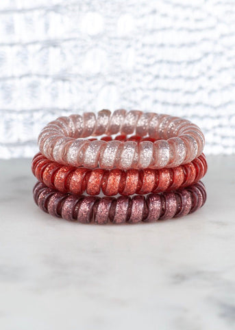 Hotline Hair Ties: Dusty Rose Glitter