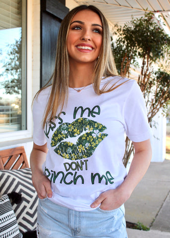 Kiss Me Don't Pinch Me Shamrock Lips Tee