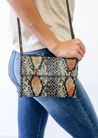 Snakeskin Mini Clutch - Camel