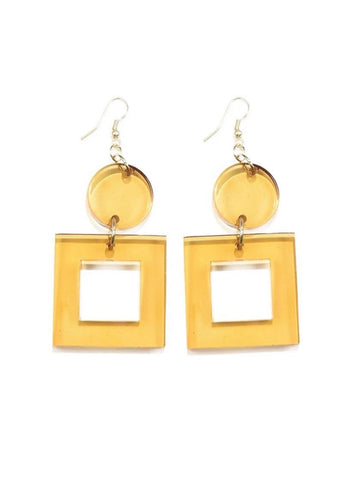 Ink + Alloy: Amber Lucite Square Dangle Earrings