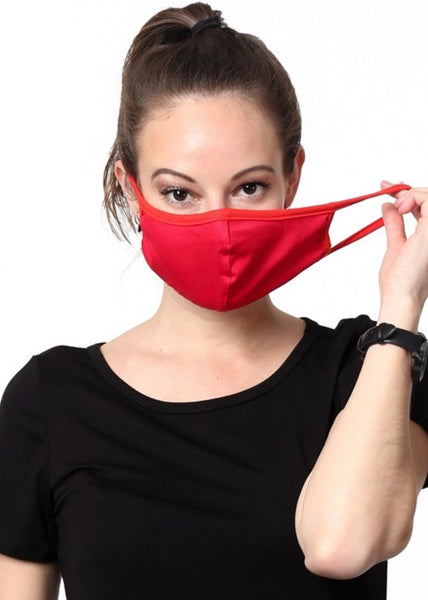 Solid Cotton Unisex Mask - Red