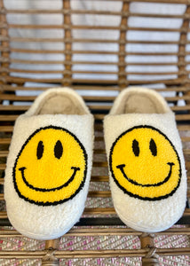 Smile Fuzzy Slippers - Ivory