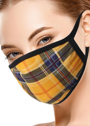 Mustard/ Navy Plaid Face Mask