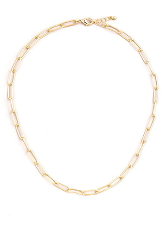 "Paperclip 16""Chain Necklace - Gold"