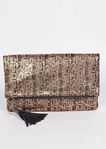 Snakeskin Meshed Mini Clutch - Rose Gold