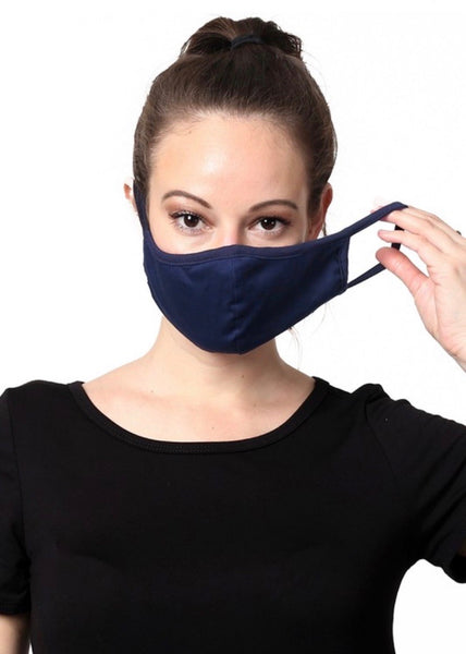 Solid Cotton Unisex Mask - Navy