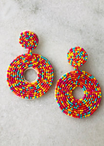 Candy Crush Beaded Earrings - Round