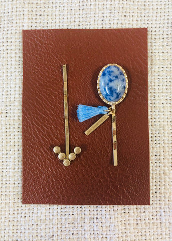 Western Oval Stone Hair Pin Set - Blue