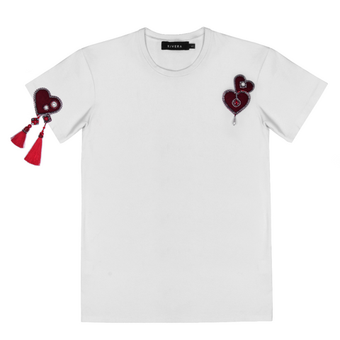 White T-shirt with handmade details
