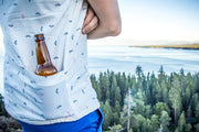 closeup of California Cowboy High Water shirt beer pocket