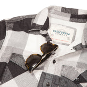 Men's High Sierra Flannel Shirt With Sunglass Loop - Double Diamond Check - California Cowboy
