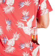 Men's High Water Hawaiian Shirt With Beer Pocket & Beer Koozie - Model - Bird of Paradise Sunset Red - California Cowboy