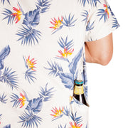 Men's High Water Hawaiian Shirt With A Beer Pocket - Model - Bird of Paradise White Sand - California Cowboy