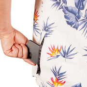 High Water Hawaiian Shirt For Men With Hidden Phone Pocket - Model - Bird of Paradise White Sand - California Cowboy