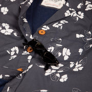 Women's High Water Hawaiian Shirt With a Sunglass Loop - California Poppy Washed Navy - California Cowboy