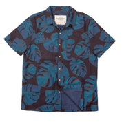 Men's High Water Shirt - Monstera Palm, Midnight Navy