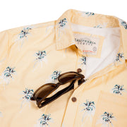 Men's High Water Hawaiian Shirt With a Sunglass Loop - Indio Palm Mellow Yellow - California Cowboy