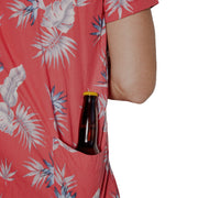 Men's Tropic High Water Hawaiian Shirt With Beer Pocket & Beer Koozie - Bird of Paradise Sunset Red - California Cowboy