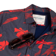 Men's High Water Hawaiian Shirt With a Sunglass Loop - Vintage Floral Washed Navy - California Cowboy