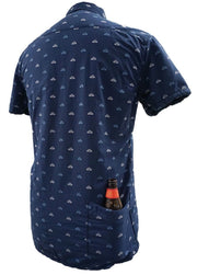 Men's High Water Shirt With Beer Pocket & Beer Koozie - Sun Dog Dobby Farallon Navy - California Cowboy