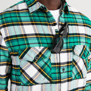 Flannel Shirt - Sunglasses Loop - Green Rush Tartan - California Cowboy