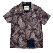 Shop for Men's High Water Hawaiian Shirt -  Cockatiels and Dreams Washed Navy - California Cowboy