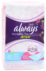 Always Incredibly Thin Fresh Liners, Wrapped, Scented 60 Coun - Pack of 4 (240 Total Count)