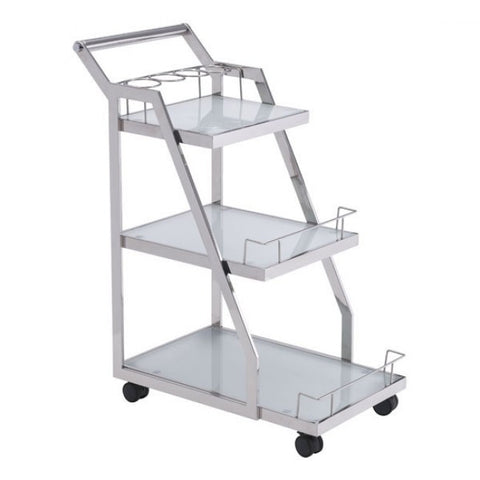 Acropolis Bar Cart in Stainless Steel