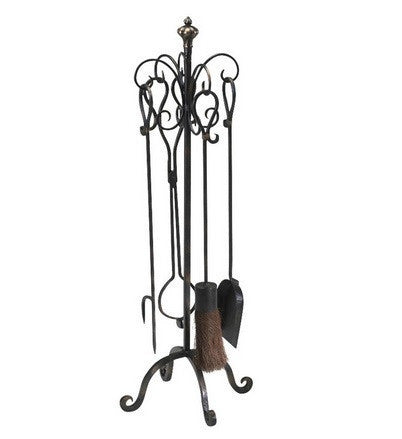 Scroll Hearth Stand/Tools 4Pc - LIFE MODERNE