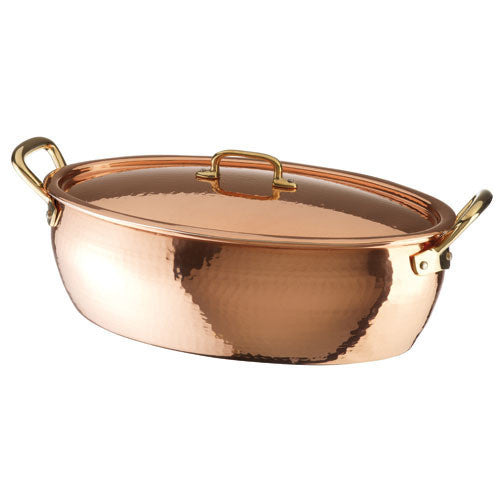 Deep Oval Roasting Pan w/Lid, Copper-Tin - LIFE MODERNE