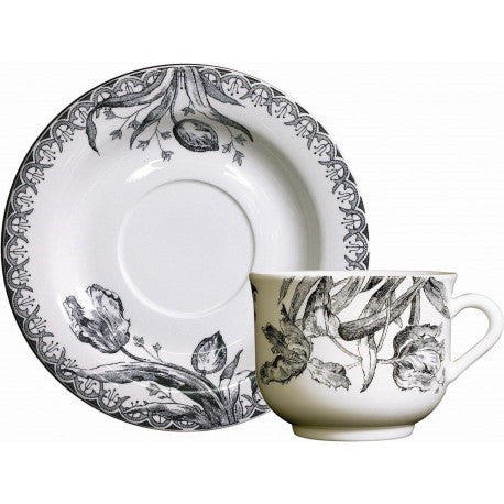 Gien Tulipes Noires Breakfast Cup and Saucer-Set of 2 - LIFE MODERNE