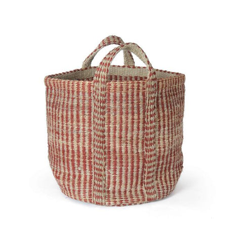 Red And Natural Hemp Basket - LIFE MODERNE