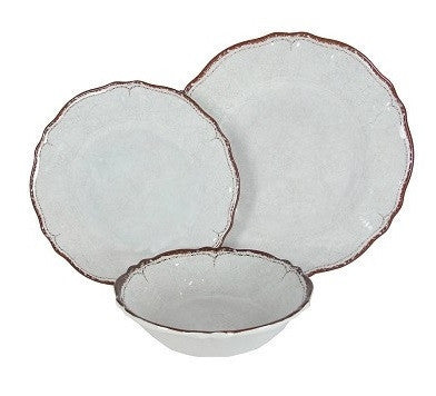 Antiqua Melamine Dinnerware Set - White - LIFE MODERNE - 1