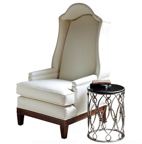 Global Views Bonnet Chair in Ivory Leather - LIFE MODERNE