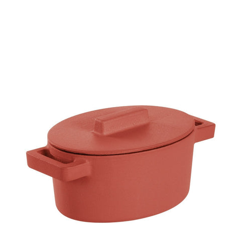 Terra Cotto Cast Iron Oval Casserole with Lid | Paprika - LIFE MODERNE