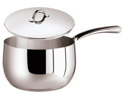 Kikka Saucepan, 1 handle, stainless steel and  Lid, 38 ounce - LIFE MODERNE