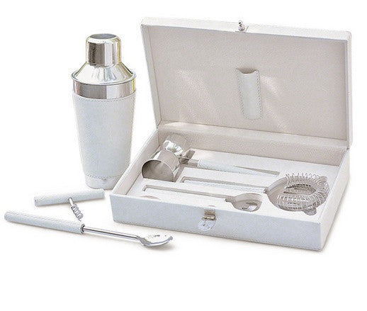 Boxed Bar Tool Set-Leather White/Stainless Steel - GDH | The decorators department Store