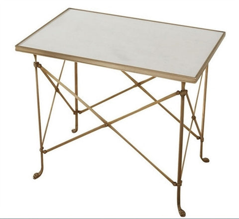 Rectangular Directoire Table - Brass and Marble - LIFE MODERNE
