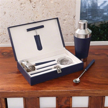 Boxed Bar Tool Set-Leather Ink/Stainless Steel - LIFE MODERNE
