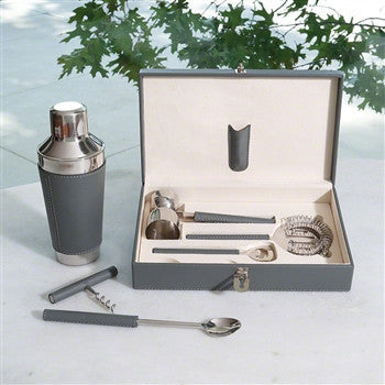 Boxed Bar Tool Set-Leather Gray/Stainless Steel - LIFE MODERNE
