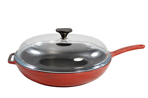"Red Frying Pan, W/ Glass Lid, Dia 11"" - LIFE MODERNE"