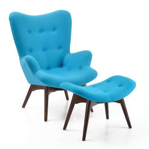 Auzzie Lounge Chair and Ottoman | Blue
