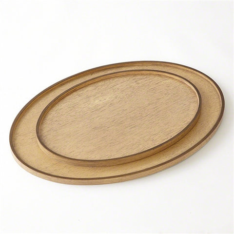 Elegant Oval Drinks Trays in Bleached Walnut S/2 - LIFE MODERNE