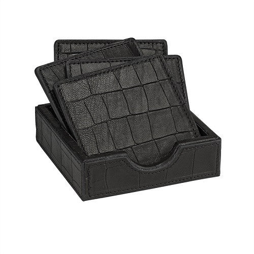 Black Square Coasters in an Embossed Leather Tray - LIFE MODERNE