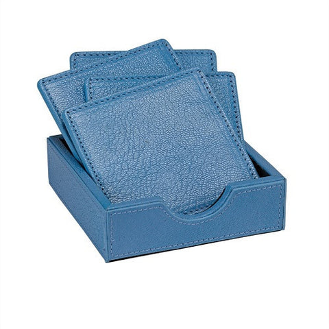Hydrangea Square Coasters in a French Goatskin Leather Tray - LIFE MODERNE