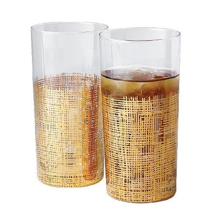 Set of 4 Crosshatch Gold Glasses - LIFE MODERNE - 1
