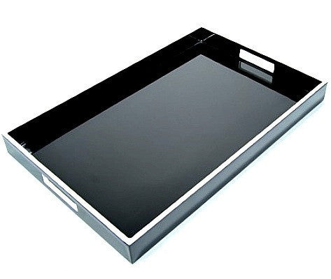 Black Lacquer Breakfast Tray with White Trim  14 x 22 - LIFE MODERNE